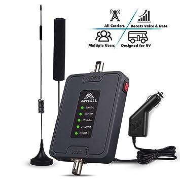ANYCALL Amplificador de Señal para Coche/Carro/RV Uso Multi Banda gsm 900MHz 3G WCDMA 2100MHz 4G LTE 800/1800/2600MHz Antenas Kits Mejorar Señal de ...