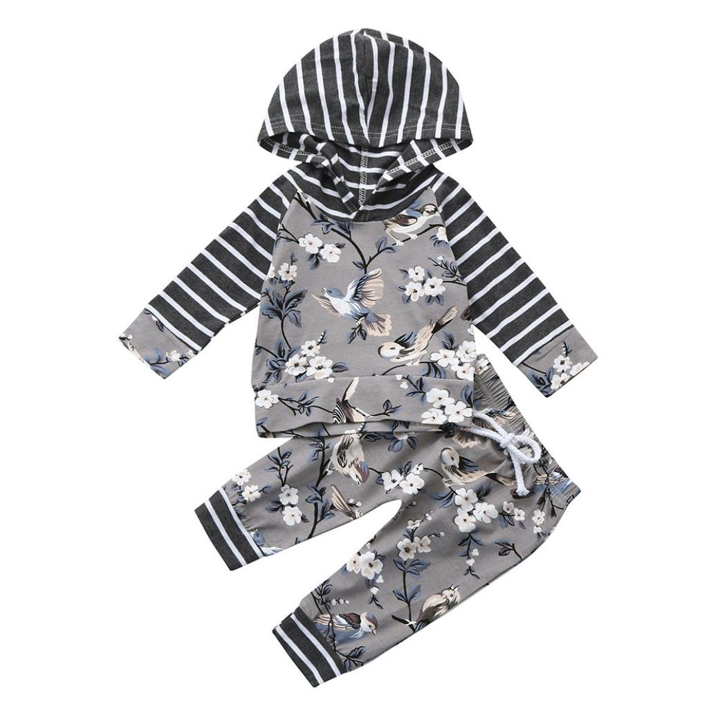 Exteren 2Pcs Toddler Baby Boy Girl Floral Print Hoodie Tops Pants Outfits Clothes Set 18 24 Months