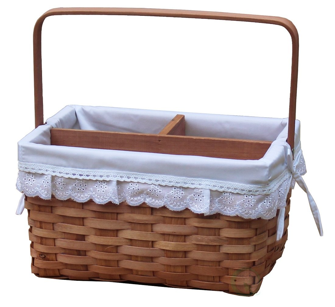 Vintiquewise(TM) Woodchip Picnic Caddy Basket Lined with Lace Trim