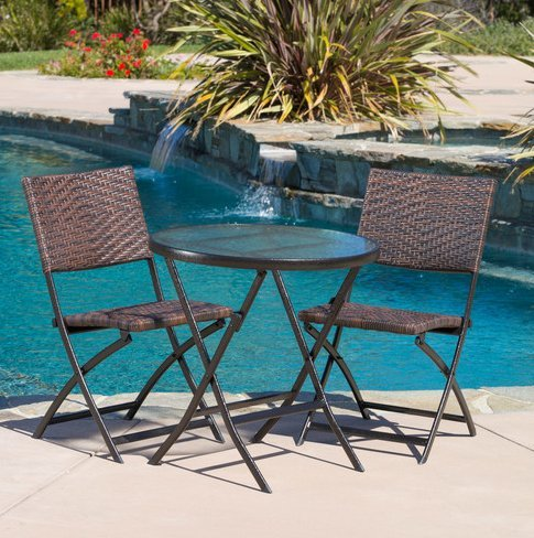Bali Cushion Cover - Patio Furniture-Patio Furniture Sets-3-Piece Wicker And Iron Bistro Set-Color Brown-Create an island oasis on your porch or patio with this patio furniture bistro set-Guaranteed!