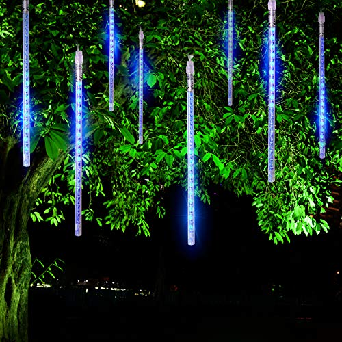 FYYZY Meteor Shower Rain Lights Christmas LED Decoration Falling Drop String Light Icicle 8 Tube (Blue, 30cm) ()