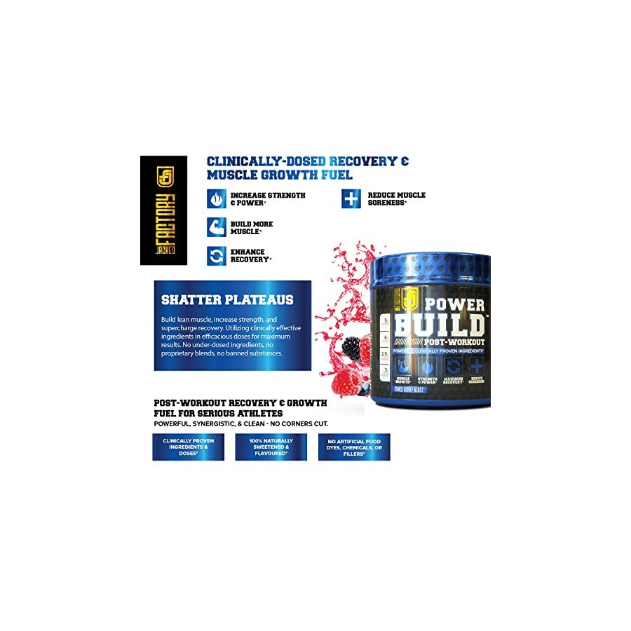POWERBUILD Clinically Dosed Post Workout Recovery & Muscle Building Supplement Boost Muscle Growth, Recovery, & Strength Creatine, Glutamine, & 5 More Powerful Ingredients Mixed Berry Blast 17.6 oz