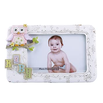 Amazon.com : Baby Distressed Picture Frames with Pink Owl Decor 4x6 ...