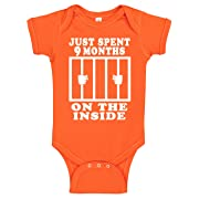 Funny Cute Baby Boy & Baby Girl Clothes | Handmade Bodysuits by Aiden's Corner | 9 Months On The Inside (6 Months, Orange)