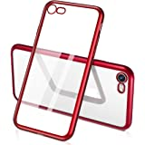 iPhone 7 Case, iPhone 8 Case, Humixx [Sparkle Series] Red TPU Soft Transparent Full Protective Case for iPhone 8, iPhone 7
