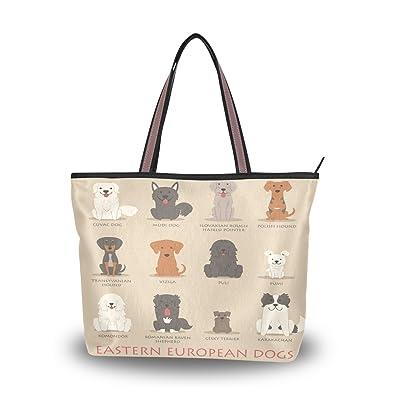 Women Handle Cute Dogs White Satchel Handbags Tote Purse Shoulder Bag Big Capacity Handbag