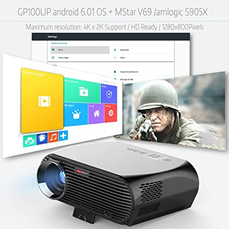 LMtt Proyector casero, androide 6.0.1 LED proyector GP100 UP ...