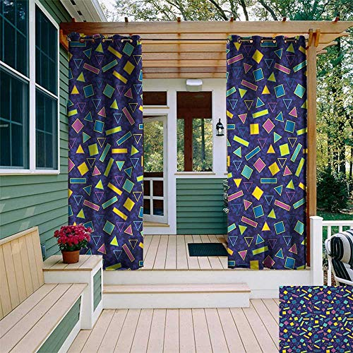 leinuoyi Funky, Outdoor Curtain Extra Wide, Retro 80`s Memphis Fashion Style Vibrant Triangles Squares Rectangles Hipster Pop, Outdoor Patio Curtains W120 x L96 Inch Multicolor