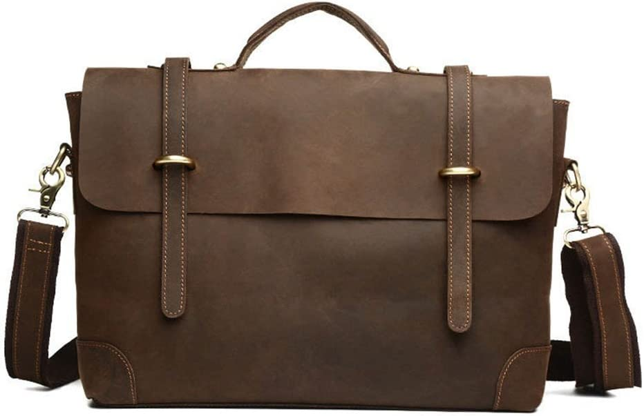 Color : Brown 37x29x9cm Business Briefcase QARYYQ Mens Bag Briefcase Mens Handbag Business Fashion Tide Leather Shoulder Bag Crossbody Bag