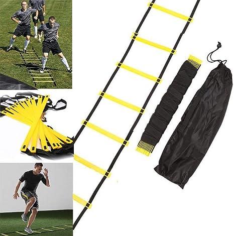 DFANCE Fitness 6m Speed Training Agility Ladder, Escalera De Agilidad Deportiva Ajustable De 12 PeldañOs con Bolsa De Transporte, Entrenamiento Al Aire Libre FúTbol BalóN De FúTbol Entrenamiento: Amazon.es: Deportes y aire