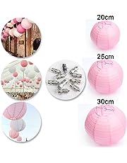 Dazone - Lote de 10 farolillos chinos de papel, esférico, para decoración de boda, hogar, Navidad, fiesta con led