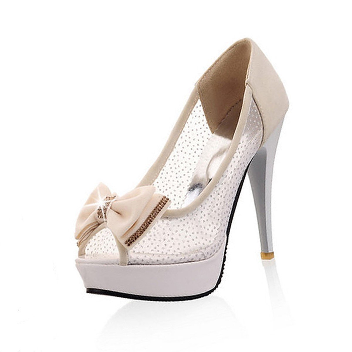 DIMAOL Womens Shoes PU Net Summer Fall Comfort Novelty Heels Stiletto Heel Peep Toe Bowknot for Wedding Party /& Evening Blushing Pink Beige