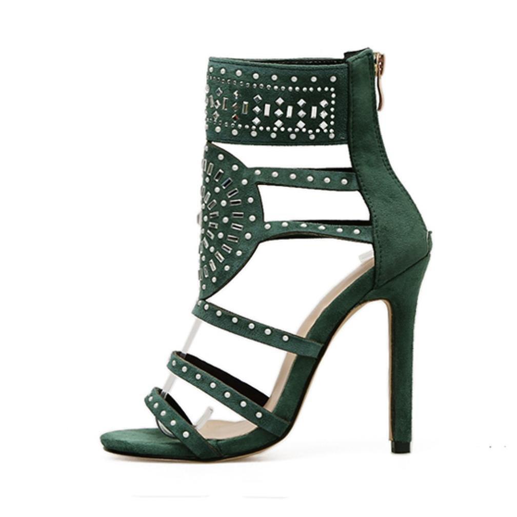 Sunbona Women Sexy Dress Sandals,Ladies Fashion Stick A Drill Sandals Exotic High Heels Pumps Casual Wedding Party Shoes (US:7.5(RU/EU/CN39), Green)