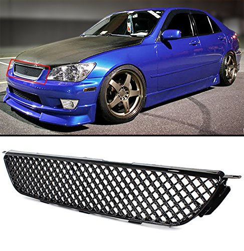 VIP Glosy Black JDM 3D Diamond Front Hood Mesh Grill Grille Fits for 2001-2005 Lexus IS300 Altezza