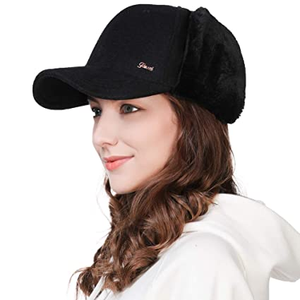 Womens Winter Faux Fur Wool Blend Earflap Strapback Dad Elmer Fudd Hat  Baseball Cap Black d89671ccb4f
