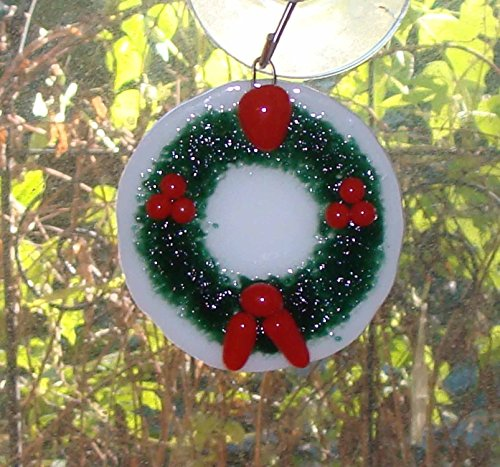 Holly Wreath Handmade Fused Glass Christmas Ornament