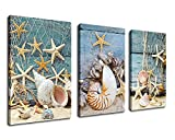 Wall Art Canvas Prints Starfish Shell Fishing Net Stone on Beach Sands Framed Ready to Hang - 3 Panels Extra large Contemporary Painting Giclee P on Canvas for Home and Office Decoration