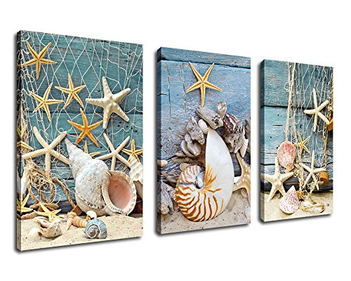 Wall Art Canvas Prints Starfish Shell Fishing Net Stone on Beach Sands Framed Ready to Hang - 3 Panels Extra large Contemporary Painting Giclee P on Canvas for Home and Office Decoration by yearainn