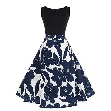YOUBan Damen Elegantes Blumenkleid Ärmelloses Kleid Vintage Tee Kleid  Hepburn Kleid Ballkleid Kleid Frauenkleid Sommerkleider Maxi 3946194cce