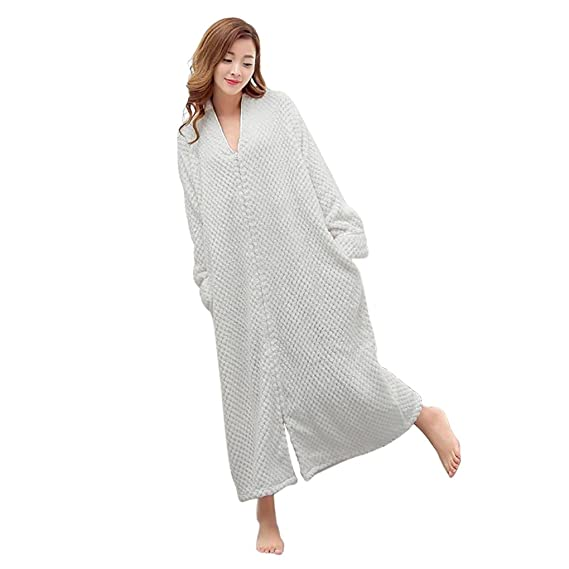 Chemise De Nuit Longue Femme Manche Longue Unisexe Couple Pyjama Kimono Maternité Vêtements Peignoir Robe De Chambre Polaire Zippée Bathrobe Nightgown