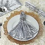 Efavormart 1 PCS Premium Sequin Napkin for Wedding Banquet Party Table Decoration Silver - 20x20