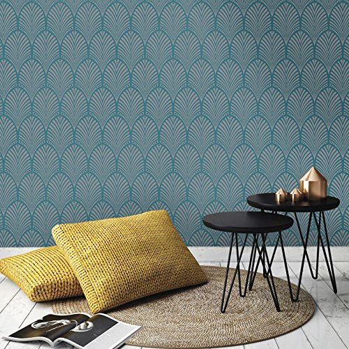 Gatsby Art Deco Wallpaper Teal Holden Decor 65253 (Art Deco Wallpaper)