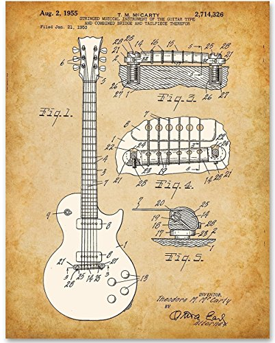 1955 McCarty Gibson Les Paul Guitar - 11x14 Unframed Patent Print - Great Gift for Guitar Players (Paul Gibson Classic Les Antique)
