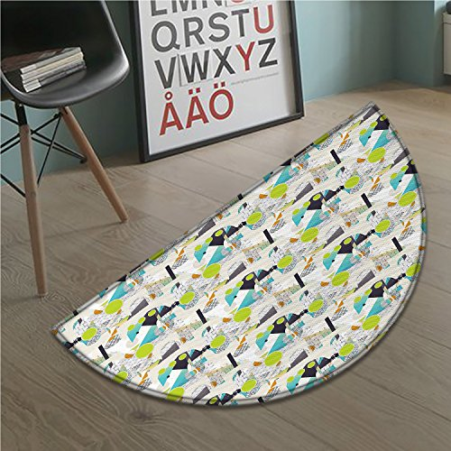 stevenhome Geometric door mat indoors Modern Abstract Artwork with Colorful Shapes and Dots Funky Expressionist Image Customize Bath Mat with Non Slip Backing Multicolor (Furniture St Louis Modern)
