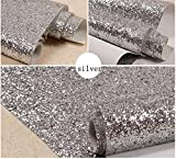 Silver Chunky Glitter Wallpaper , Sparkly Glitter Fabric Wall Paper ,Bling Wallcovering (27in x 16.4ft (One Roll))