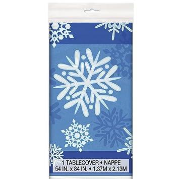 Winter Snowflake Holiday Plastic Tablecloth, 84u0026quot; ...