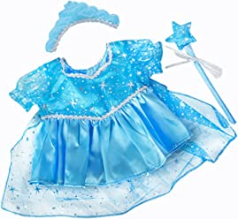 17bf9d7e191f BLUE SNOW PRINCESS DRESS LIKE FROZEN ELSA TEDDY BEAR OUTFIT CLOTHES WITH  WAND AND TIARA FITS