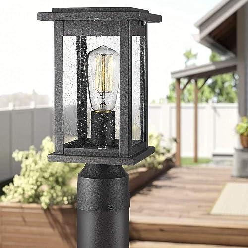 Emliviar Outdoor Post Light Fixtures 2 Pack, Exterior Pillar Light in Black Finish with Seeded Glass, 1803EW1-P-2PK Renewed