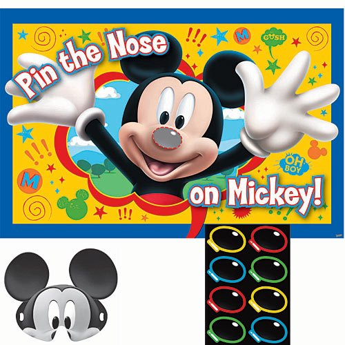 Mickey Party Game, Pin The Nose on Mickey, Multicolored -
