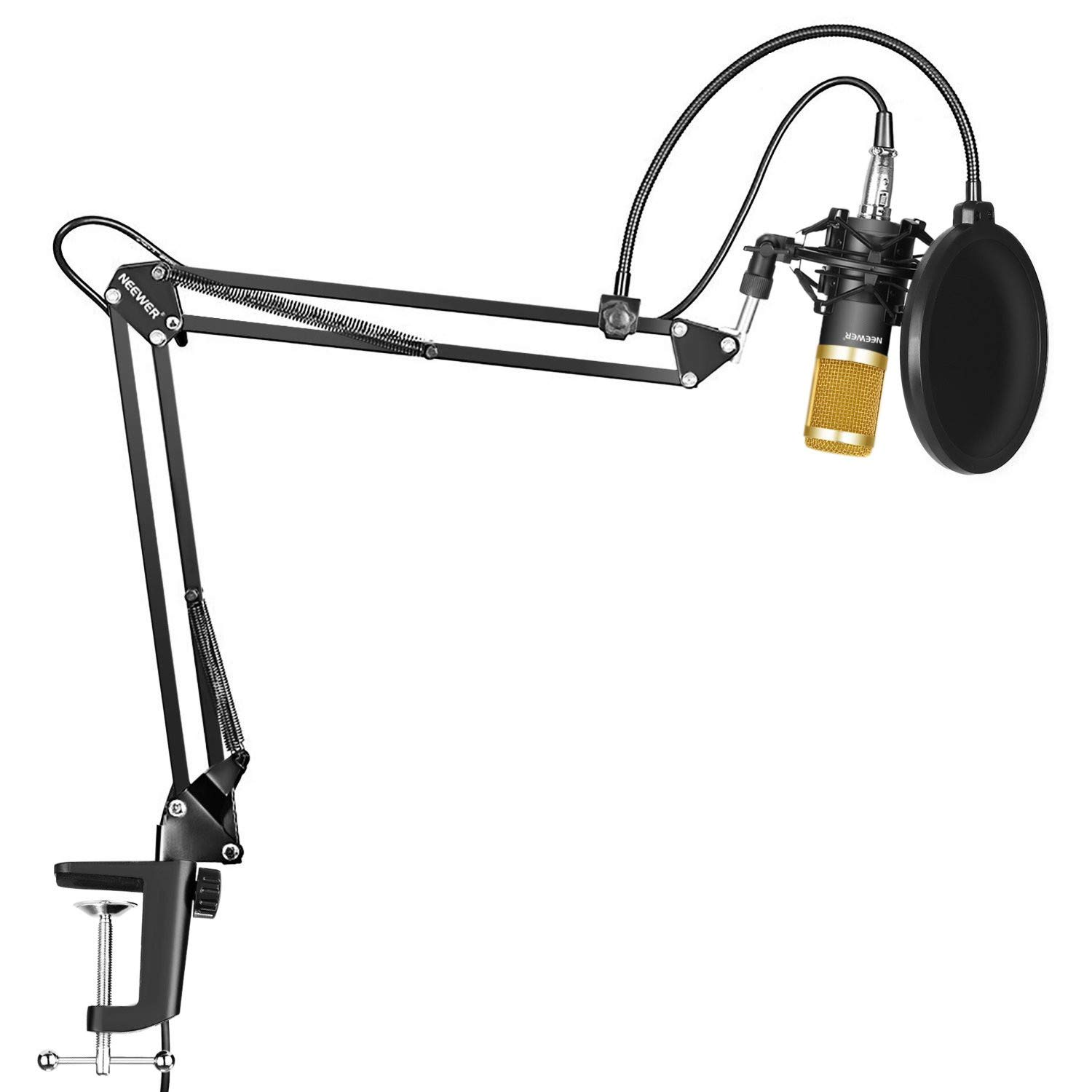 YSINOBEAR Professional Studio Broadcasting Recording Condenser Microphone & NW- 35 Adjustable Recording Microphone Suspension Scissor Arm Stand with Shock Mount and Mounting Clamp Kit