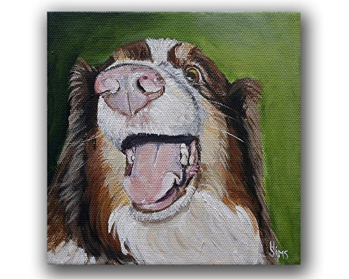 Australian Shepherd, Unique Dog Nose Art Print Giclee for Home Animal Wall Decor, size mat option
