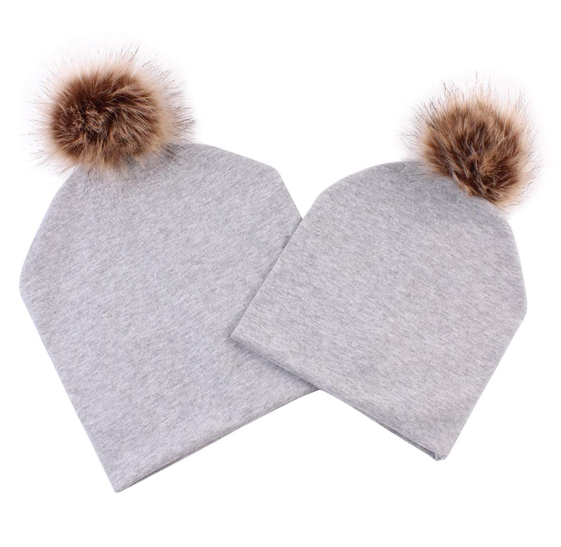Family Matching 2 PCS Hat Parent-Child Winter Warm Cotton Ski Cap Beanie Hat with Fur Pom Pom Ball (Gray, One Size)