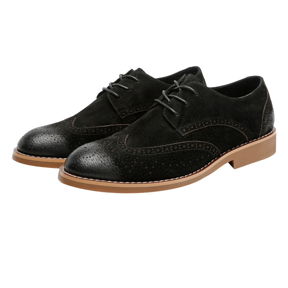 Hilotu Clearance Party Shoes Men's Classic Business Shoes Matte Breathable Hollow Carving Genuine Leather Lace Up Lined Oxfords (Suede Optional) (Color : Suede BLK, Size : 8 D(M) US) by Hilotu-shoes (Image #1)