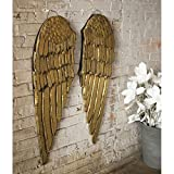 Kalalou Gold Painted Wooden Angel Wings Set of Two