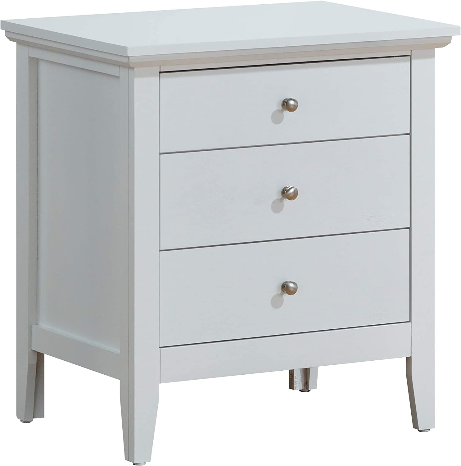 Glory Furniture Hammond Fully Assembled White Top Quality Wood 3 Drawer Luxury Bedroom Furniture Nightstand, 26 H x 24 W x 18 D,
