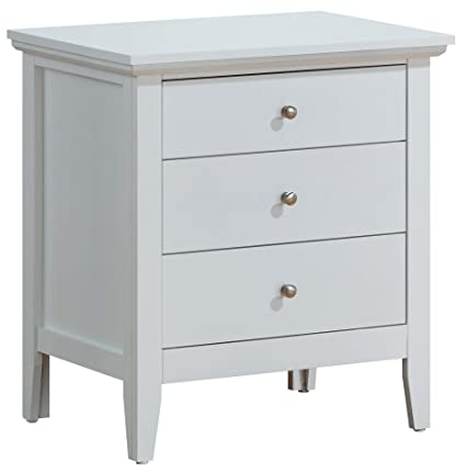Glory Furniture Hammond G5490-N Fully Assembled White Wood 3 Drawer Luxury  Bedroom Furniture Nightstand, 26\