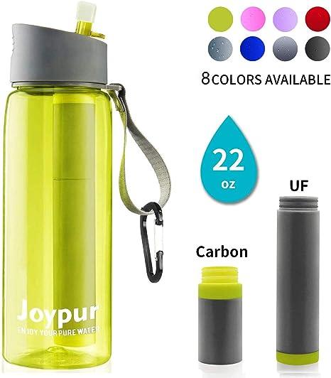 joypur Botella de Agua con Filtro portátil – Purificador de Agua ...