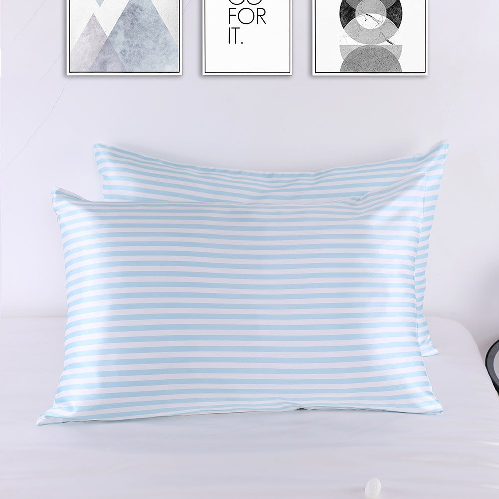 LilySilk Stripe Silk Pillowcase Pure Mulberry 22 momme Blue And White Stripped Luxury Soft Charmeuse 1pc King(20x36'') by LilySilk