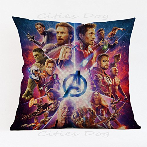 17.3 X 17.3 inches Red Avengers Superheroes Decorative Pillowcase, Blue Ironman Thor Throw Pillow Cover Captain America Hulk Cushion Cover Adventure Movie Themed Square Plain Woven, Polyester