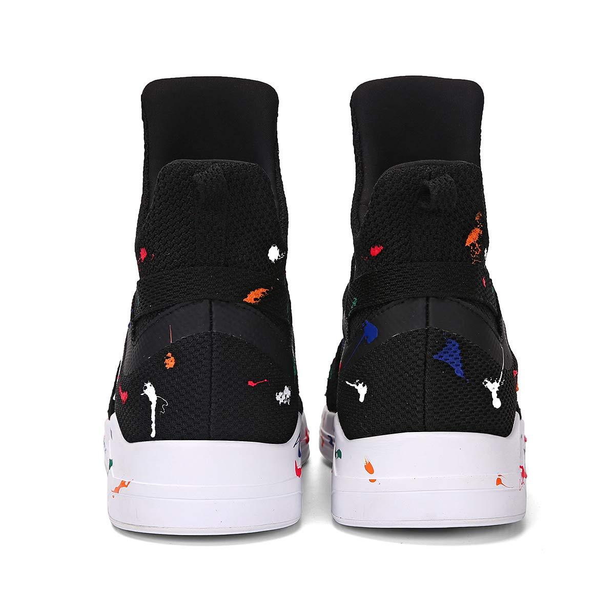 YAN Unisex Schuhe High-Top Mesh High-Top Schuhe Sneakers Elastikschlauch Schuh, Männer Frauen Deck Schuhe Lässig Täglich Wanderschuhe Herbst & Winter Schwarz, Größe   42 893046