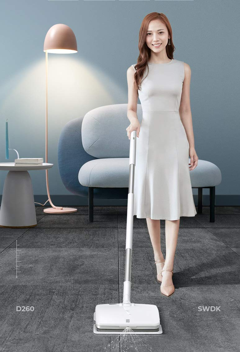 SWDK Innovative Electric Handheld Cordless Mop Floor Cleaning for Mopping All Surfaces Rechargeable, Rubbing Frequency Up to 1000 Times Per Minute D260 (Mop)