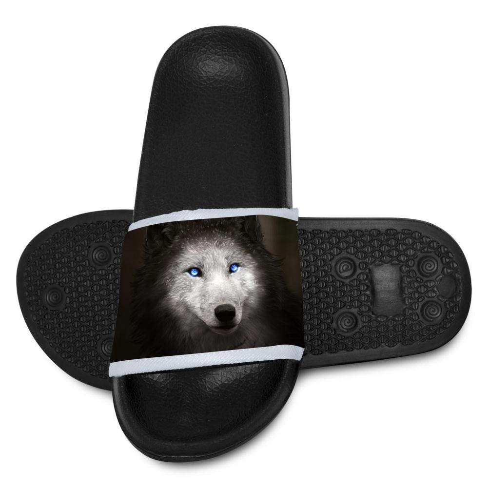 Gujigur Cool Wolf with Blue Eyes Slippers for Boy Girl Casual Sandals Shoes Creative 3D Printed Graphic Hipster Design