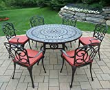 Oakland Living Berkley 7-Piece Set with 54-Inch Round Table and 6 Cushioned Chairs For Sale