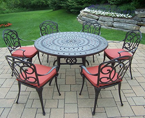 Oakland Living Berkley 7-Piece Set with 54-Inch Round Table and 6 Cushioned Chairs