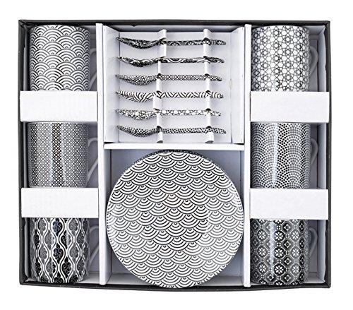 Tokyo Design Studio Nippon Black Espressotassen Set - 18-teilig - für 6 Personen - Tassen 80 ml, Untertassen und Löffel aus hochwertigem Porzellan - Spülmaschinenfest und mikrowellengeeignet - in schöner Geschenkbox