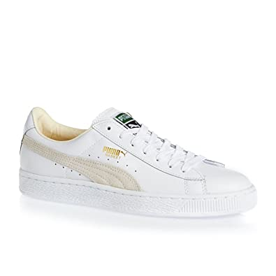 Puma Basket Classic Womens White Leather Trainers  Amazon.co.uk  Shoes    Bags 4fb9a8f91